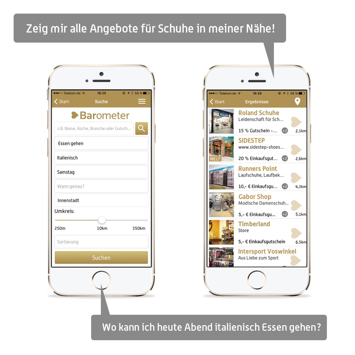 Screenshot unserer Apps
